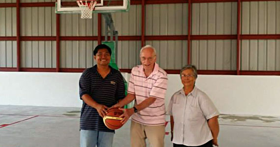 Checking out the new gymnasium with Russell Figueras and Sister Isabel Seman