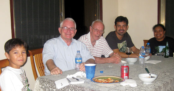 Dinner in Palau with Friends: Jack Penland, Rich McAuliff, SJ, Destin Penland and Toluk Sakuma.