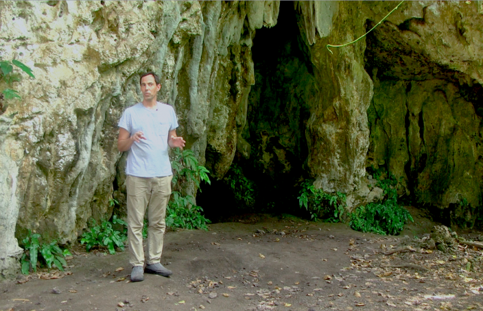 Mike Carson, archaeologist interviewed for the video, outside the cave at Ritidian on Guam