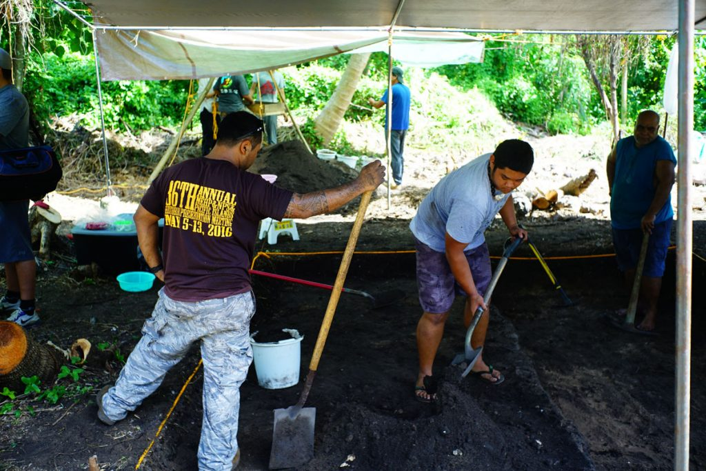 The team at work on the excavation pit at Laulau Bay on Saipan