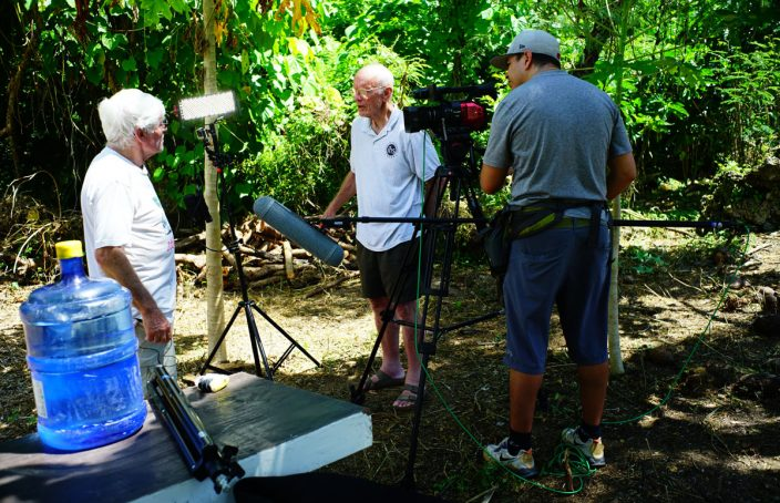 Evret and I doing a filmed interview on Saipan with Peter Bellwood, noted archaeologist.