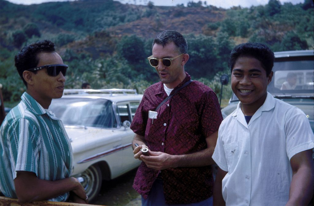 Fr.Bill McGarry in Pohnpei with William Epiriom and Daka Alphons, 1965.